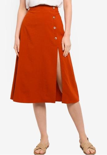 Tula Cruz red Cotton Blend Midi Skirt with Slit D366EAA565A50CGS_1
