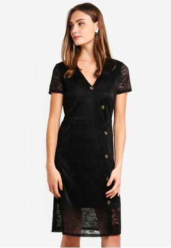 Vero Moda black Lily Short Sleeve Lace Button Dress F46DFAA2876098GS_1
