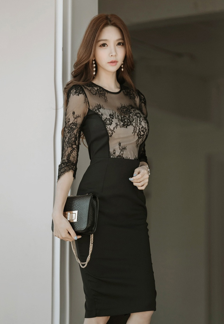CA031416 2018 One Lace Mid Black Sunnydaysweety Sleeves Black Piece Dress New qwTB1
