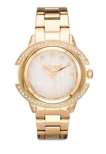 R7253216502 Just Decesprit home 台灣or 閃鑽雕花不銹鋼圓錶, 錶類, 飾品配件