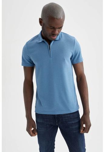 DeFacto blue Short Sleeve Polo T-Shirt D5FD6AADF70DD2GS_1