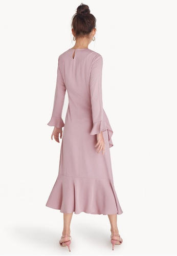 Buy Pomelo Maxi Long Sleeve Ruffled Dress - Pink Online on ZALORA ...