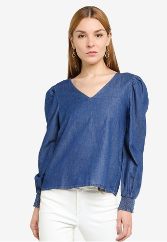 JACQUELINE DE YONG blue Evelyn Smock Top FCD83AA490B425GS_1