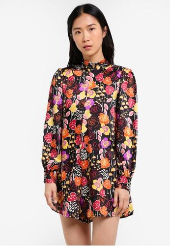 Mango black Floral Short Jumpsuit MA193AA0S6JWMY_1