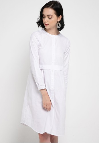 novel.mice white Round Collared Dress CB4BCAA464AD98GS_1