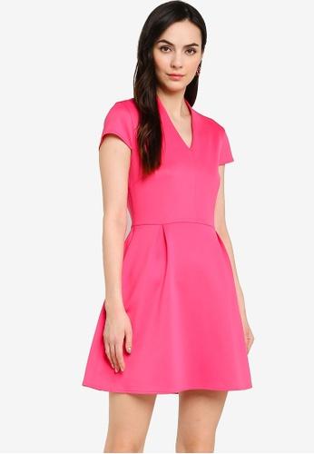 ZALORA WORK pink V Neck Pleated Dress 90C48AA2AE6371GS_1