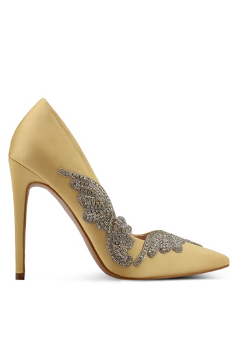 Velvet yellow Side Panel Embellished High Heels 1AE79SHFF73709GS_1