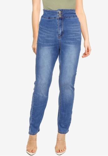MISSGUIDED 藍色 MG X Assets Deep Waistband Sinner 緊身牛仔褲 25E77AA3ED2B6FGS_1