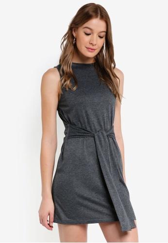 ZALORA BASICS grey Basic Tie Waist Mini Dress E4700AA47E0B60GS_1
