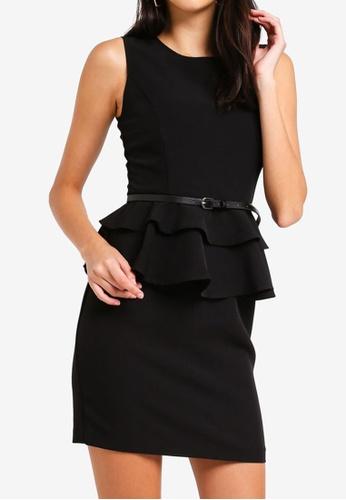ZALORA black Layered Peplum Dress A4D48AADD72535GS_1