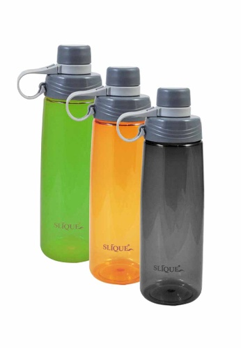 Slique black and orange and green Sports Water Bottle 650ml 3pc Set 5BC7CHL74E83EEGS_1