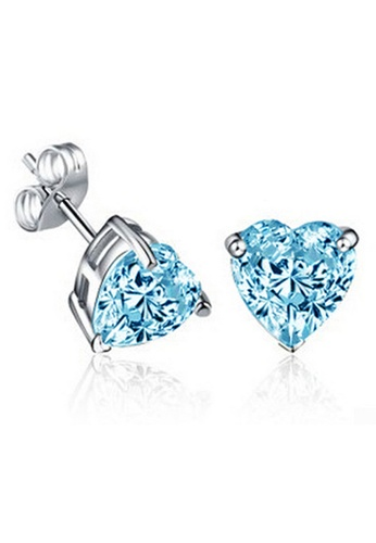 YOUNIQ silver YOUNIQ Heart CZ 925 Sterling Silver Earrings (Blue) YO999AC66NORMY_1