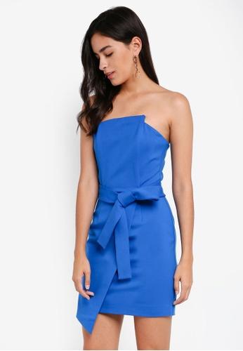 Lavish Alice blue Asymmetric Neck Bandeau Mini Dress LA457AA0SSQJMY_1