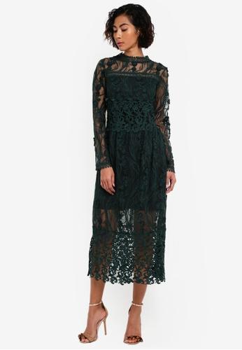Miss Selfridge green Premium Lace Midi Dress MI665AA0RSU6MY_1