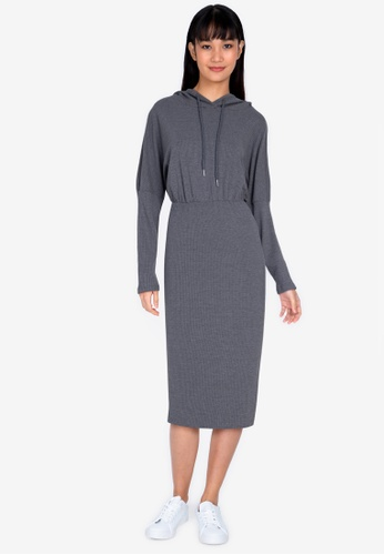 ZALORA BASICS grey Rib Hooded Dress 33ED6AAD754B77GS_1