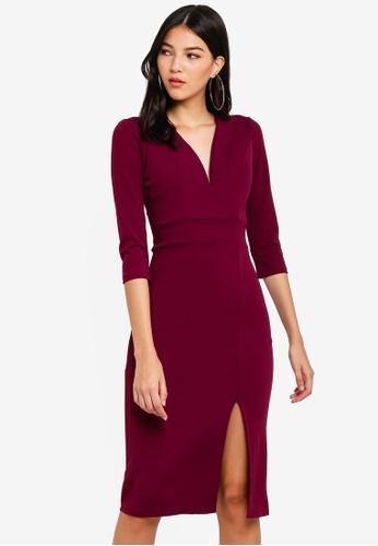 WALG purple 3/4 Sleeve Midi Dress 1DD9CAA484BD61GS_1