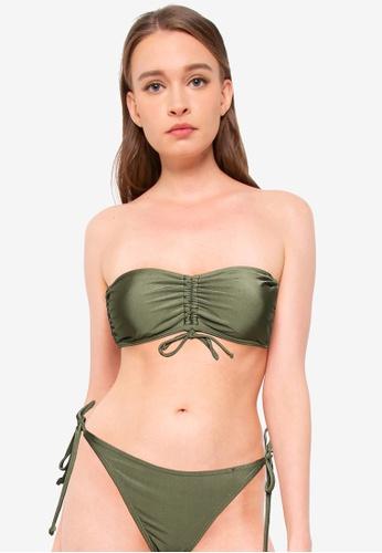 Cotton On Body green Gathered Backless Halter Bikini Top 3A0FBUSBA2AD3BGS_1