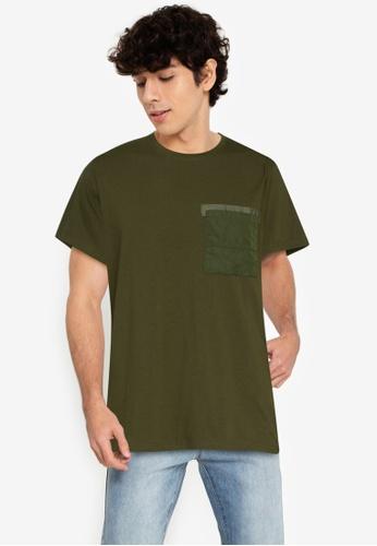 ZALORA BASICS green Strap Chest Pocket Tee DF4D2AA572ECE3GS_1