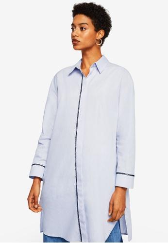 Mango blue Embroidery Long Shirt 4E481AA69D8958GS_1