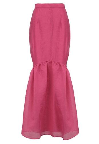 POPLOOK pink Myrna Gathered Hem Skirt 9CBCDAACCCAFEFGS_1