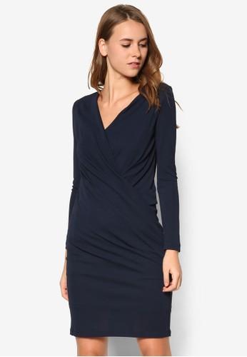 裹式長袖連身裙, 服京站 esprit飾, 洋裝