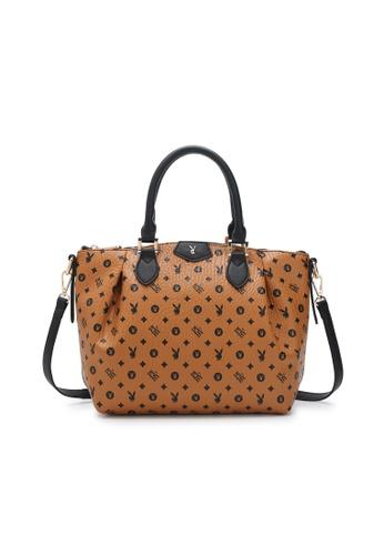 PLAYBOY BUNNY brown Ladies Handbag / Top Handle Bag / Shoulder Bag 41138AC34264EEGS_1