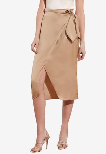 Trendyol beige Satin Tie Wrap Midi Skirt 350C3AA76EEFB4GS_1