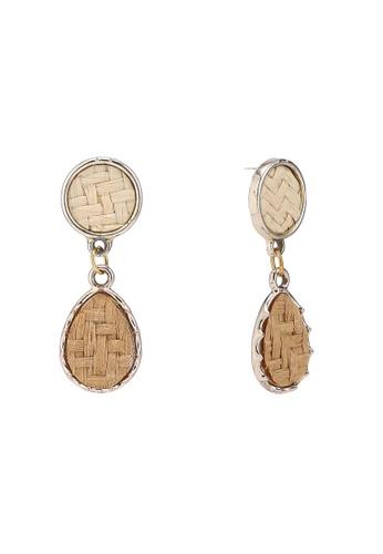 Saturation beige Rattan Drop Earrings 009A6ACC76312CGS_1
