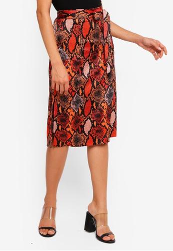 c038d222f Buy Dorothy Perkins Orange Snake Midi Skirt Online   ZALORA Malaysia