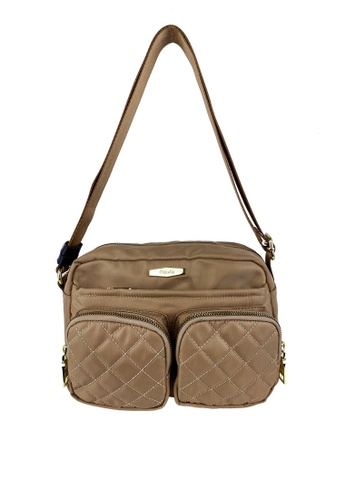 Mel&Co beige Front Quilted Double Pocket Sling Bag 8E944AC961045FGS_1