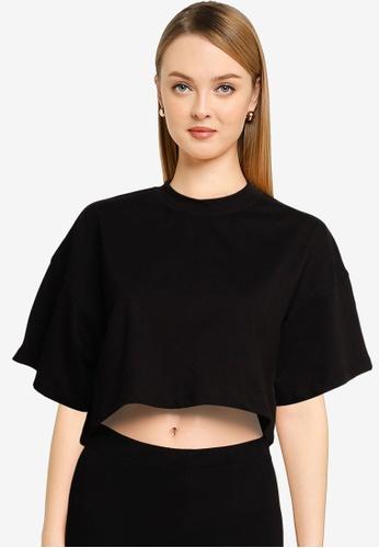 MISSGUIDED black Petite Drop Shoulder Oversized Crop Top 1D416AAE96F360GS_1