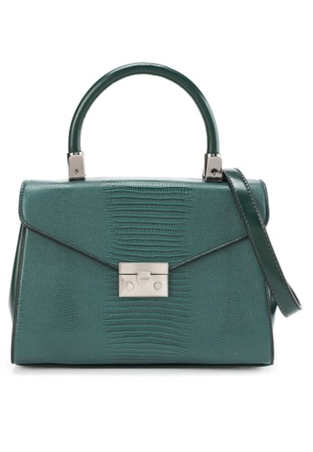 HUER green Walle Reptile Embossed Satchel Bag 8E696ACBC6B253GS_1