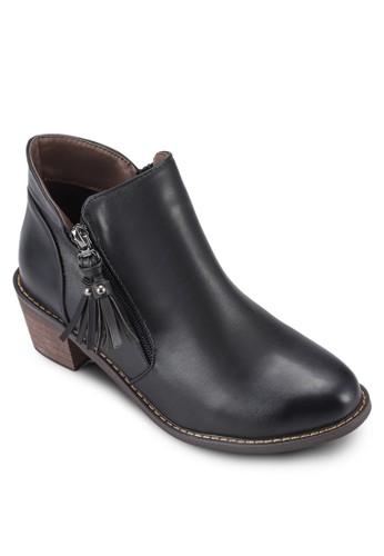 流蘇側拉esprit童裝門市鍊粗跟踝靴, 女鞋, 鞋