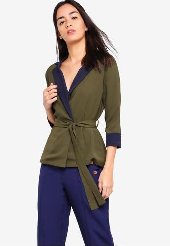 ZALORA green and multi Wrapped Blouson Top 3E394AAD20D18CGS_1