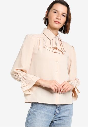 Zalia beige Ruffle Detail Shirt 21603AA650DF16GS_1