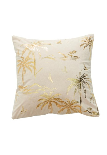DILAS HOME Palm Tree Gold Print Cushion Cover (Dusty pink) 53534HL7FFE30FGS_1