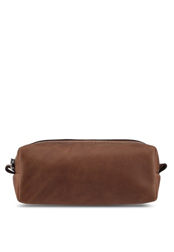 Miajee's brown Compact Toiletry Case handcrafted leather - Brown A82D6ACEC046D0GS_1