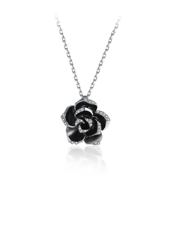 Glamorousky white Romantic Rose Pendant with Austrian Element Crystal and Necklace 953EEACCF64FC1GS_1