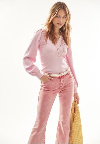 iROO pink Pink Boot Leg Jeans 5415FAA082CB70GS_1