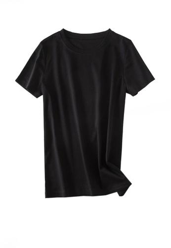 Twenty Eight Shoes black VANSA Round Neck Mercerized Cotton Short-sleeved T-Shirt VCW-Ts1902U 7088CAAE40D8F0GS_1