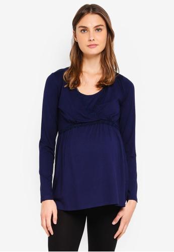 JoJo Maman Bébé navy Maternity Pyjama Top 5FAD2AAC4E522AGS_1