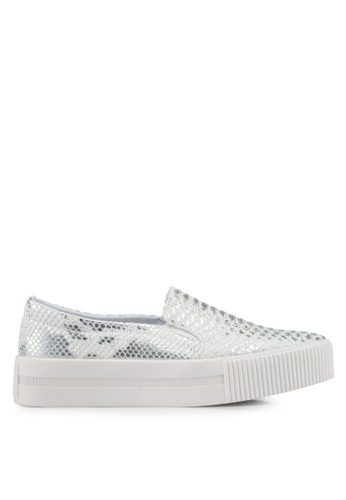 addicts anonymous silver Sofia Snake Skin Metallic Slip Ons AD479SH0SVKSMY_1