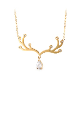 Glamorousky white Fashion and Simple Plated Gold Elk Antlers Water Drop-shaped Cubic Zirconia 316L Stainless Steel Necklace B05AAACBF79F78GS_1