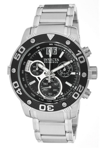 INVICTA black and silver Invicta Reserve Men 47mm Case Silver Stainless Steel Strap Black Dial Quartz Watch 0760 w/ Cap IN968AC0FIXUSG_1