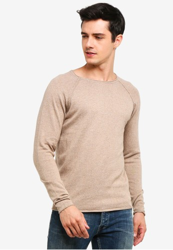 !Solid beige Stamos Mix Silk Raglan Knit Sweater 5D205AA2055041GS_1
