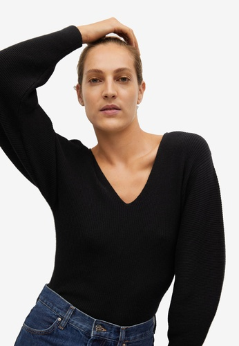 Mango black V-Neck Ribbed Knit Sweater 139D0AAC0F68C9GS_1