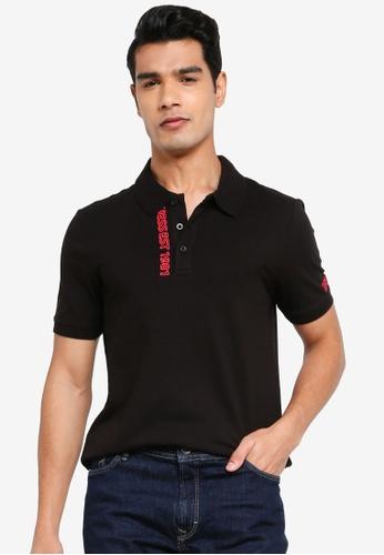 GUESS black Lyle Short Sleeve Polo Shirt 7640FAAC4225D5GS_1