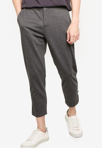 ZALORA BASICS grey Zipped Hem Detailed Trousers F4E85AA0BF382DGS_1