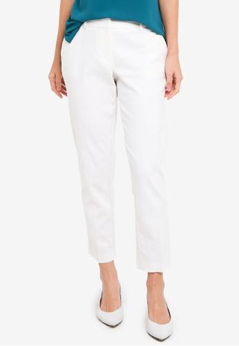 Dorothy Perkins white White Linen Split Hem Trousers 237EEAAF360342GS_1