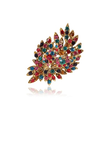 Glamorousky silver Fashion and Elegant Plated Gold Geometric Flower Brooch with Colorful Cubic Zirconia 66FA6ACC206C2CGS_1